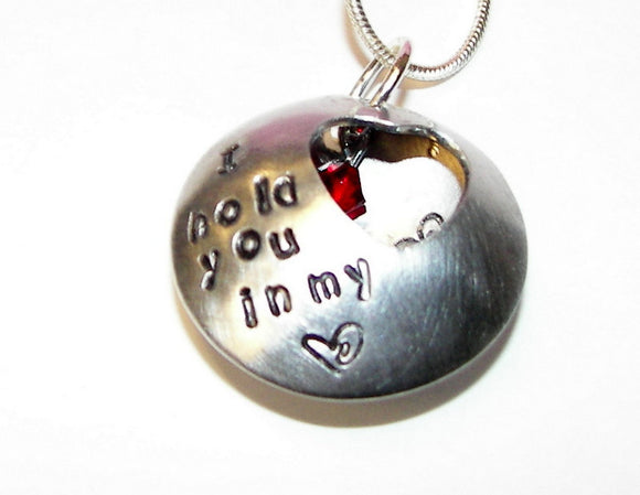 Custom hand stamped always in my heart locket necklace, Personalized memorial jewelry handstamped jewelry