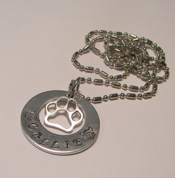 sterling silver, Hand stamped jewelry, personalized, personalized jewelry, pet mom, Cat mom charm, hand stamped jewelry, dog mom