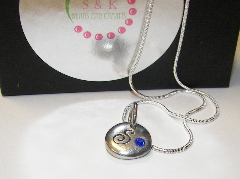 tiny inital necklace with birthstone, name necklace brides maid gift, mothers initial necklace handstamped jewelry
