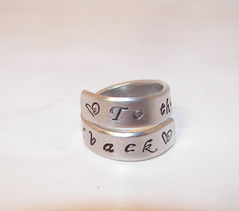 I love you to the moon and back wrap ring,  personalized hand stamped jewelry, custom stamped jewelry gift handstamped jewelry