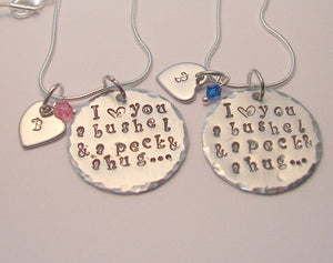 sterling silver I love you a bushel and a peck and a hug , Hand stamped  mommy necklace, custom personalized fashion necklace