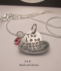 The love between a mother and son is forever, Hand stamped jewelry, mommy jewelry, personalized jewelry, mommy necklace., custom  stamped