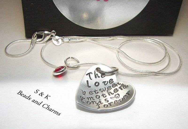The love between a mother and son is forever, Hand stamped jewelry, sterling silver, engraved jewelry, mommy necklace, custom stamped, heart