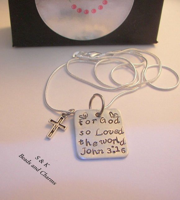 Sterling silver  For God so loved the world John 3 :16 , religous jewelry for her,  Custom Hand stamped jewelry
