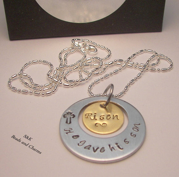 Hand stamped jewelry, personalized jewelry,  He gave his son, custom jewelry , religious charm, faith necklace, mothers necklace