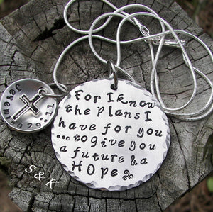 For I know the Plans I have for you custom hand stamped jewelry, personalized religious necklace, Jeremiah 29:11