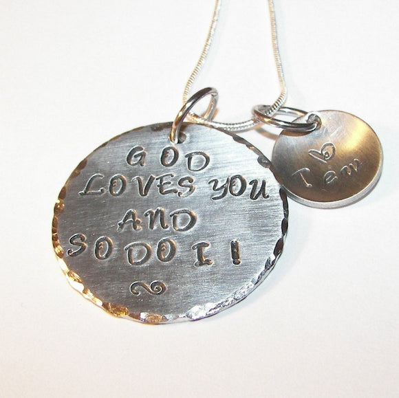 Sterling silver God love you and so do I  necklace, Hand stamped jewelry, religious personalized jewelry, handstamped jewelry