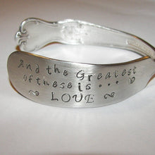 Load image into Gallery viewer, The greatest of these is love, mother jewelry, vintage jewelry, anniversary gift, wedding jewelry, Bridal jewelry, custom bracelet, cuff