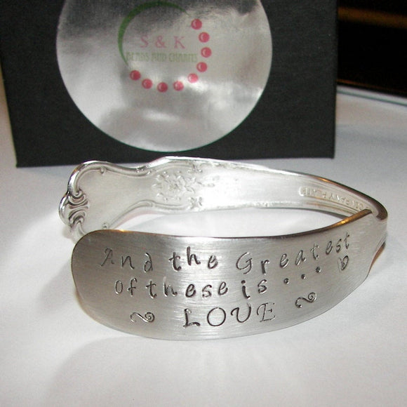 The greatest of these is love, mother jewelry, vintage jewelry, anniversary gift, wedding jewelry, Bridal jewelry, custom bracelet, cuff