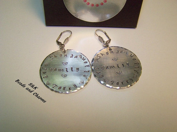 Custom made mothers family earrings, Custom personalized hand stamped jewelry, Earrings with kids names or initals handstamped jewelry