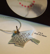 Load image into Gallery viewer, personalized jewelry for graduation gift, custom hand stamped jewelry , grad cap necklace handstamped jewelry