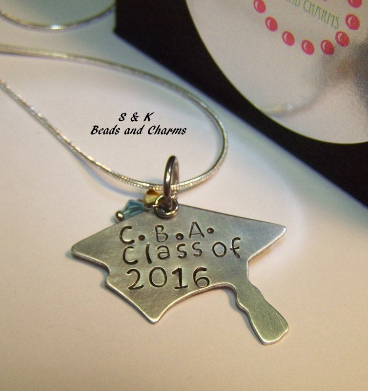 personalized jewelry for graduation gift, custom hand stamped jewelry , grad cap necklace handstamped jewelry