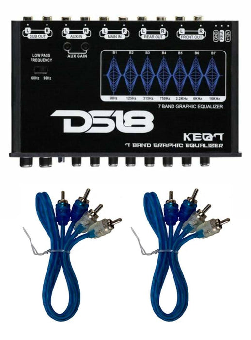 "KEQ7 7 Band 6 Channel Graphic Equalizer 7V DS18 + 2 x 18"" 2 Ch RCA M2M"