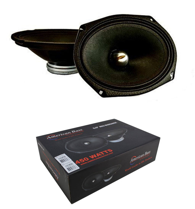 "Pair of 6x9"" Midrange Neodymium Speakers 450W 4 Ohm Pro Car Audio American Bass NEO69"