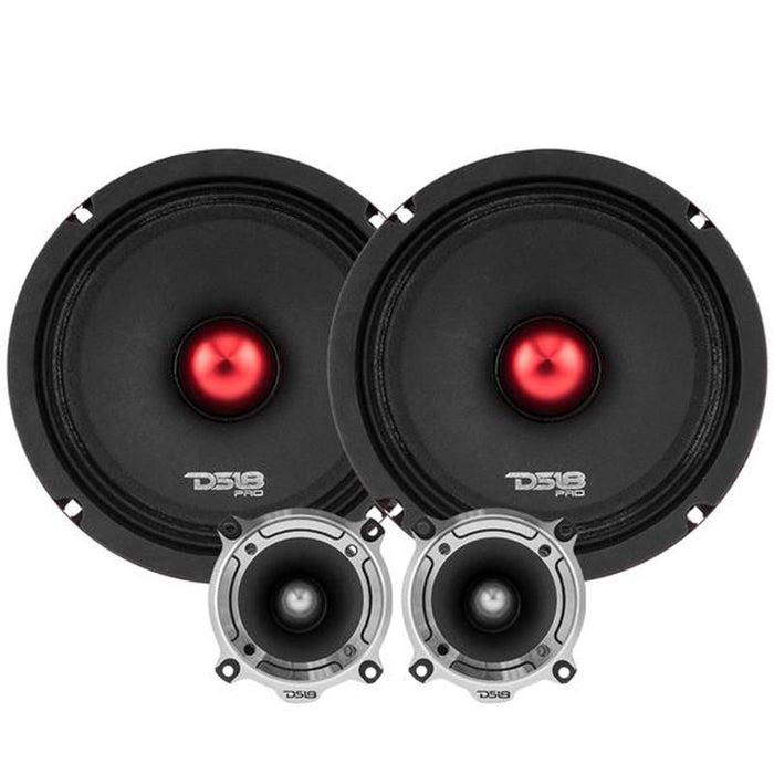 "2300W 2x 8"" Midrange Speakers + 2x Bullet Tweeters + 1600W 4 Ch Amplifier Combo"