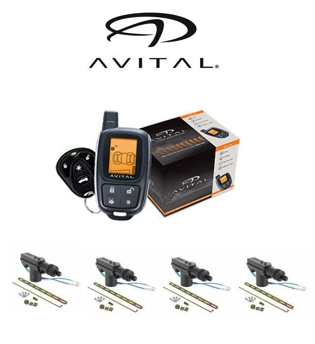 Avital 2-Way LCD Security System 1500 FT Range 2 Remotes + 4 DoorLocks 3305L