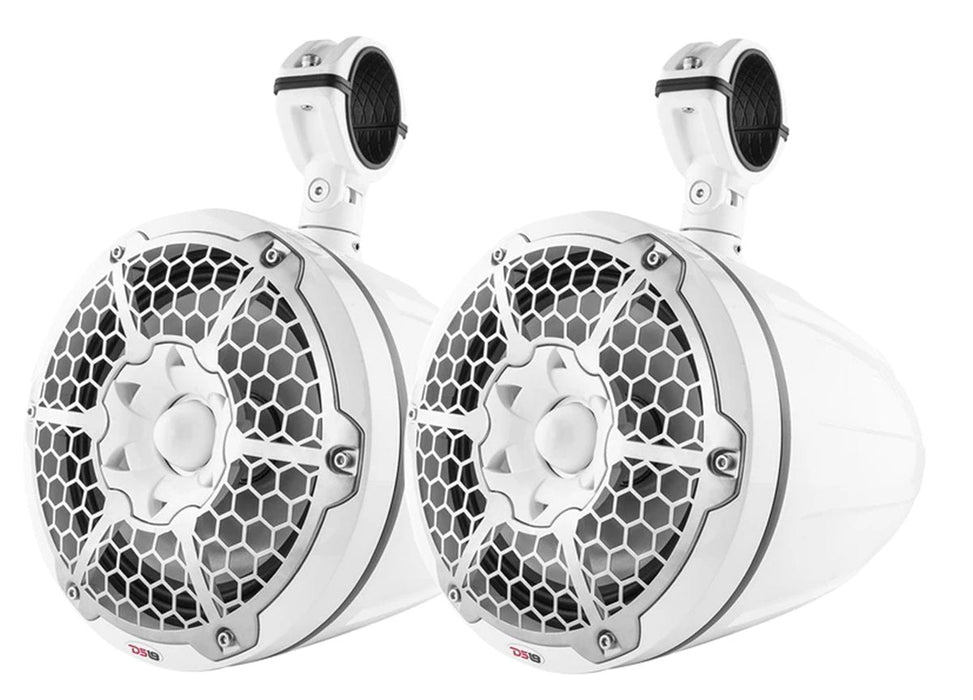 "NXL-10TPNEO White 10"" 1800W Tower Speakers Waterproof LED RGB Neodymium"