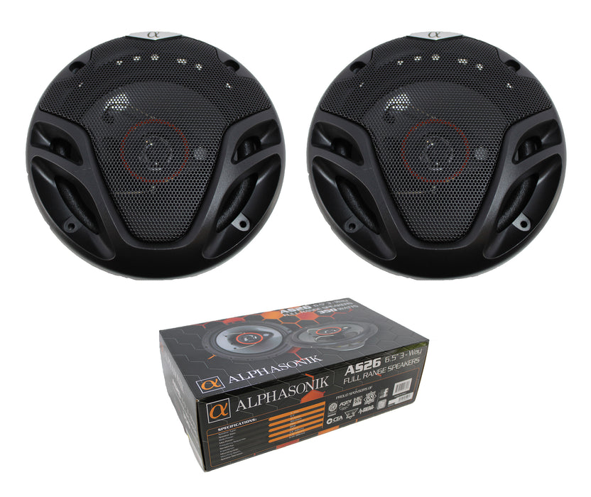 "Pair of Alphasonik 6.5"" 3-Way 700W Full Range Speakers 4 Ohm AS26"