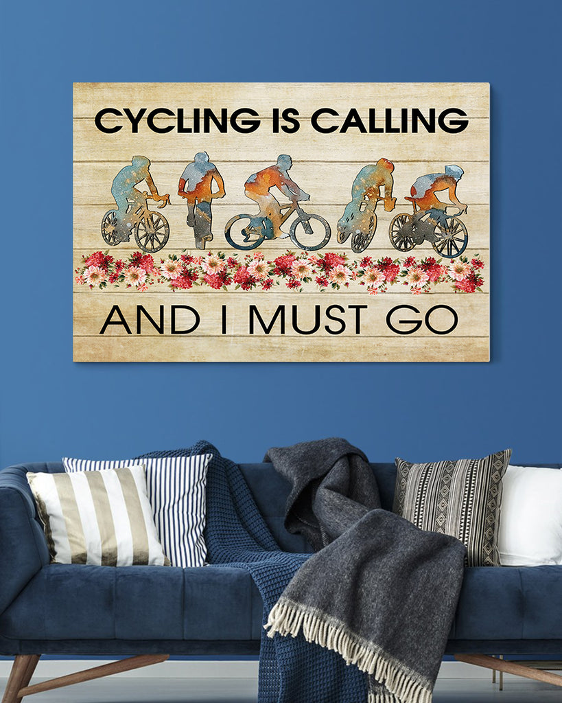 Biking Canvas-Cycling Is Calling And I Must Go