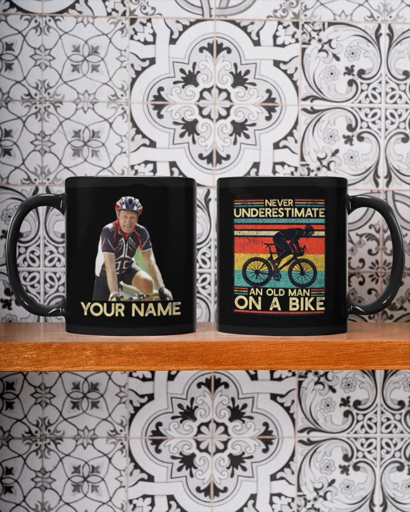 Personalized Image Cycling Mug- Never Underestimate An Old Man On A Bike