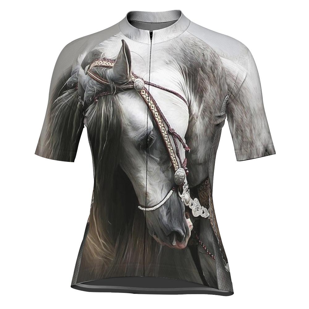 Horse Short Sleeve Cycling Jersey for Women