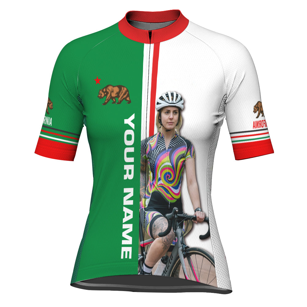 Customized Image California Short Sleeve Cycling Jersey for Women