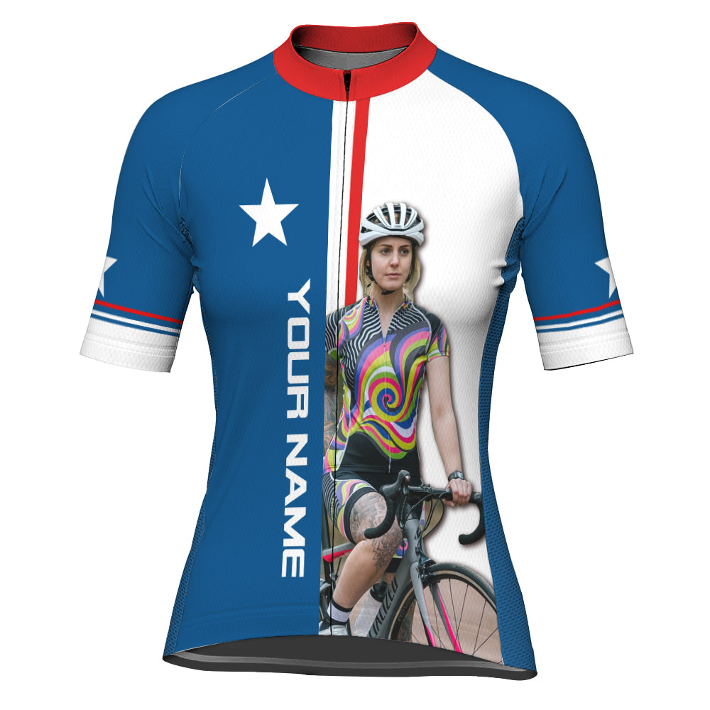 Customized Image Texas Short Sleeve Cycling Jersey for Women
