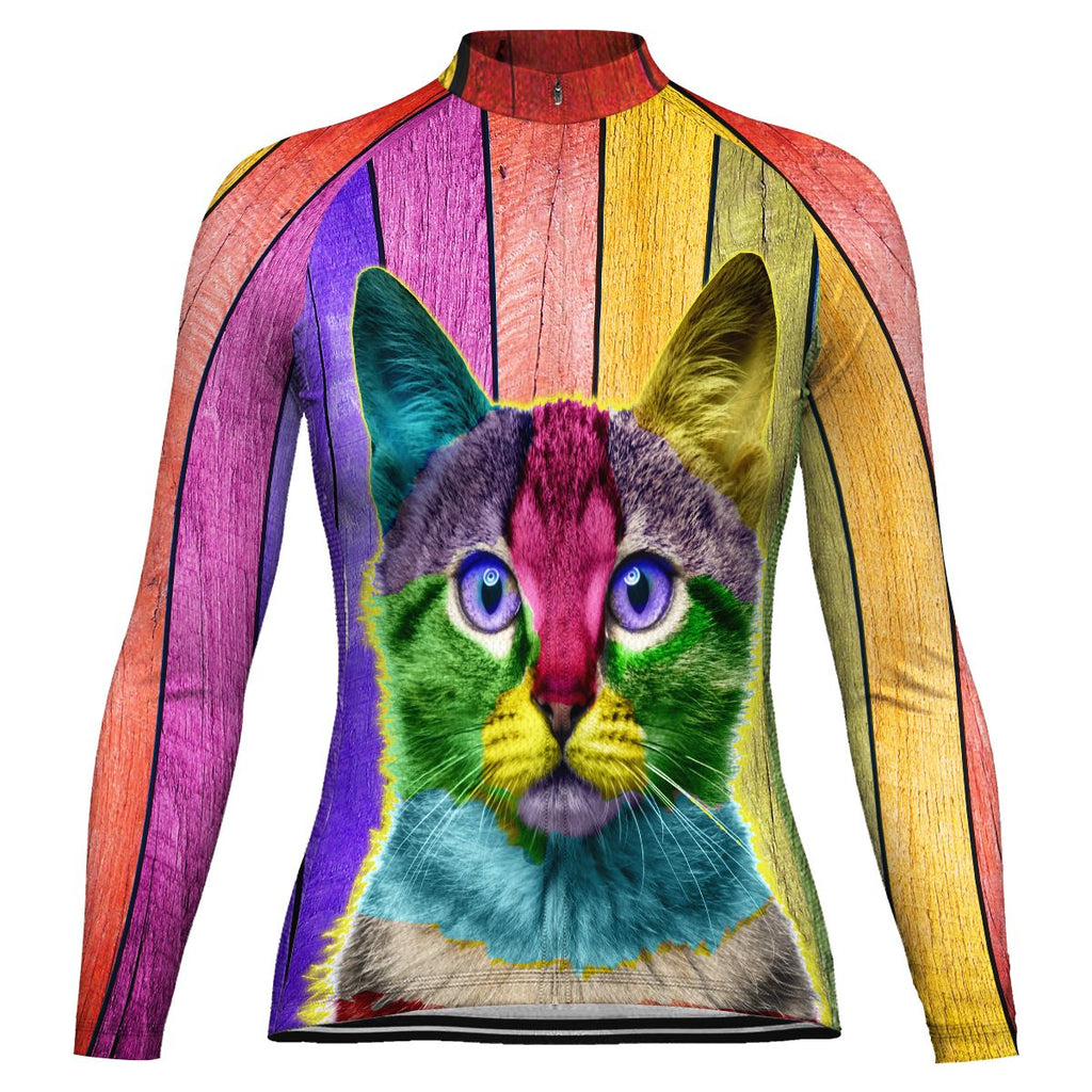 Colorful Cat Long Sleeve Cycling Jersey for Women