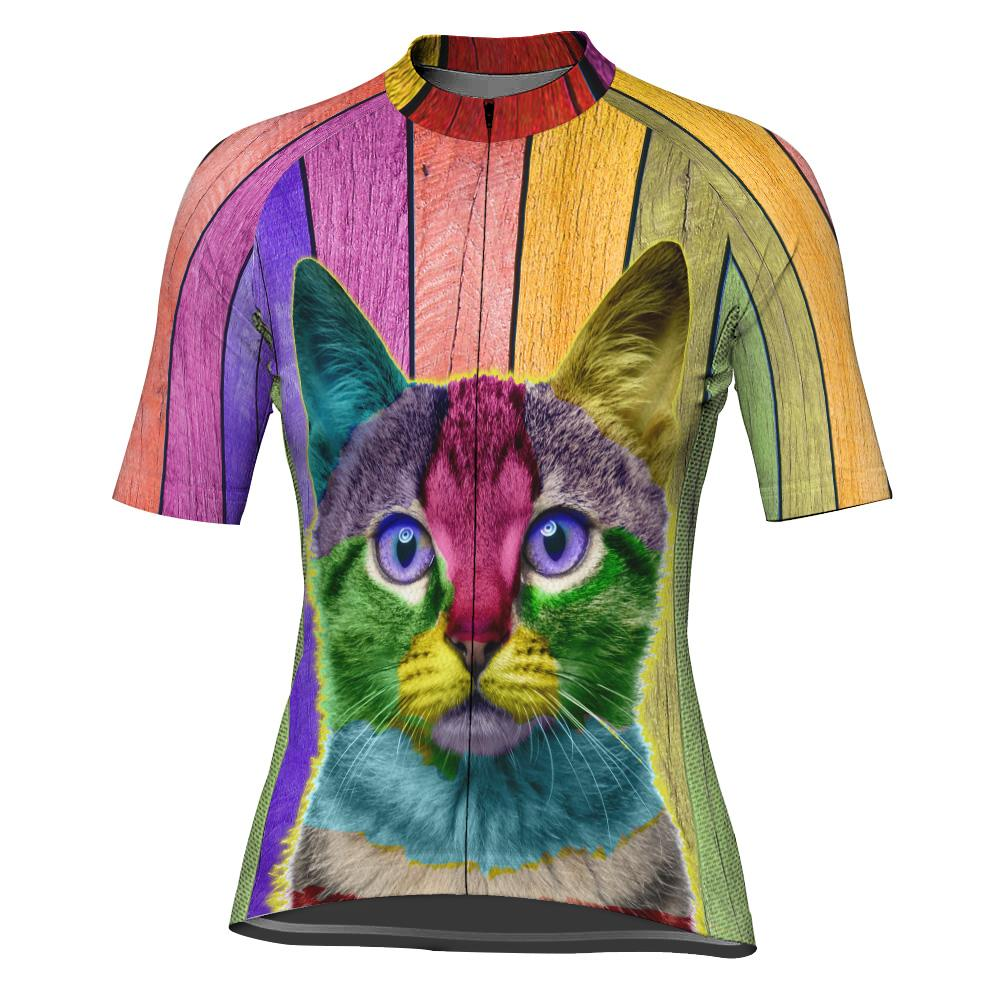 Colorful Cat Short Sleeve Cycling Jersey for Women