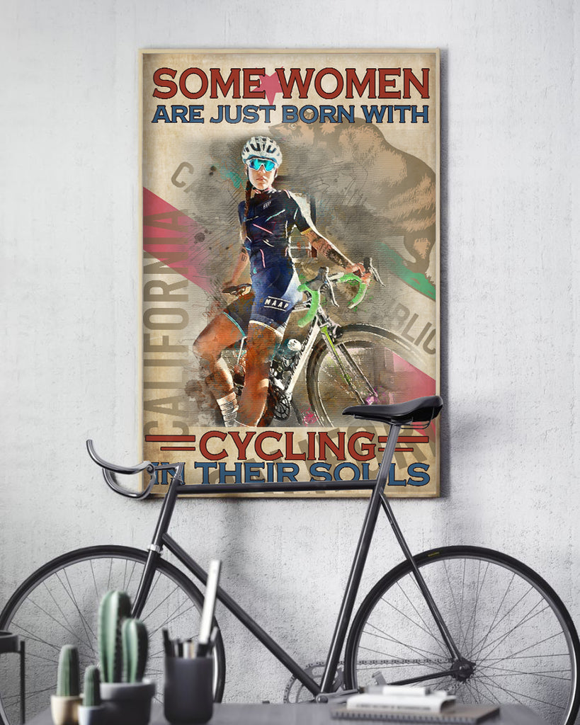 Customized Image WaterColor Poster- Some Women Are Just Born With Cycling In Their Souls for Women