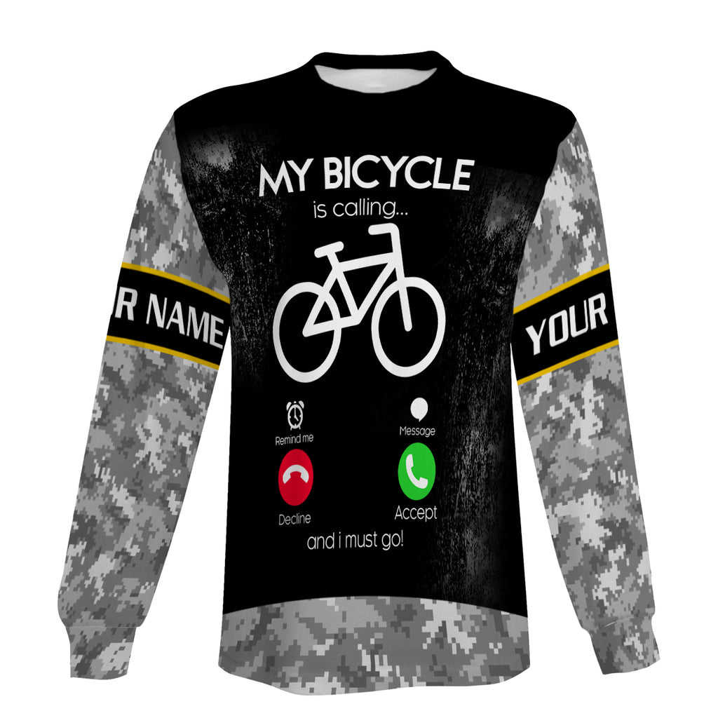 Personalized Cycling Jersey Men My Bicycle Is Calling Long Sleeve, Zip Up Hoodie and Hoodie