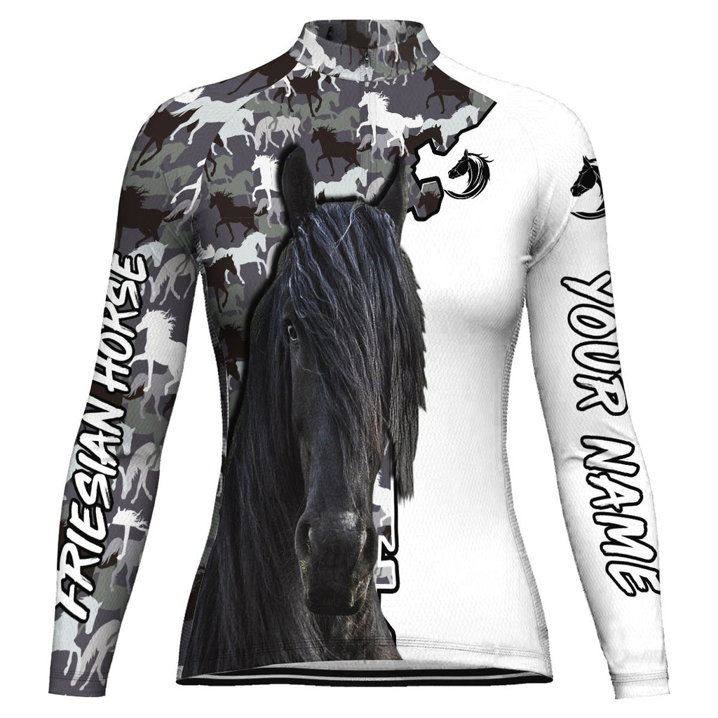 Customized Friesian Horse Long Sleeve Cycling Jersey for Women
