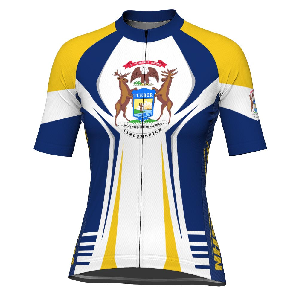 Customized Michigan Short Sleeve Cycling Jersey for Women