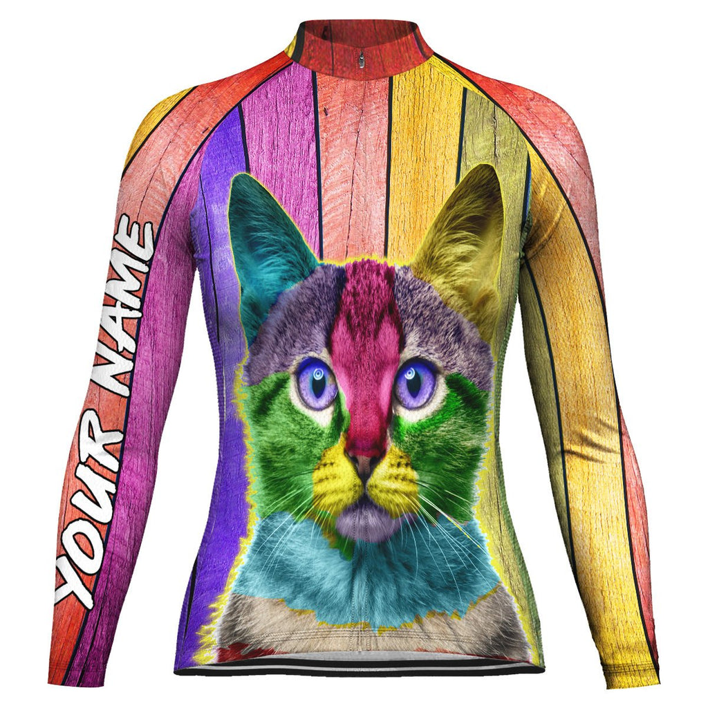 Customized Cat Long Sleeve Cycling Jersey for Women