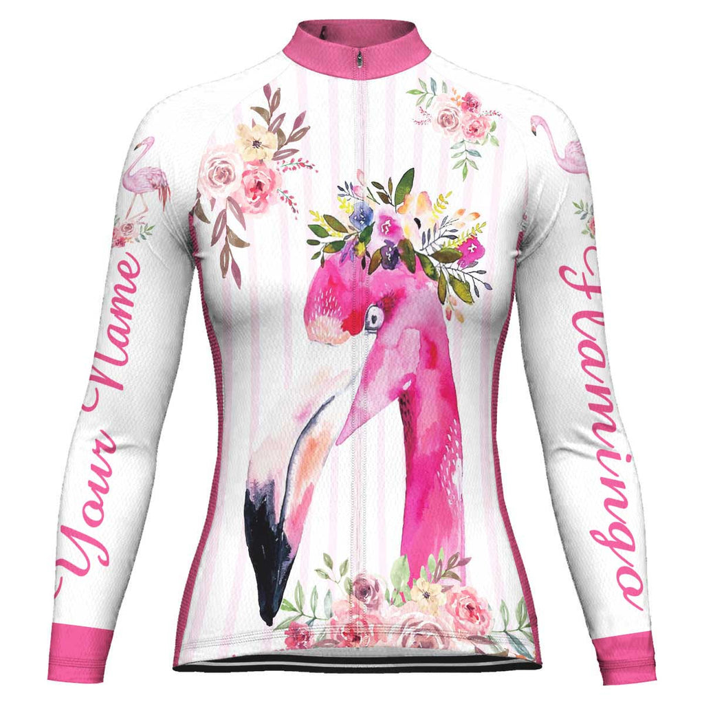 Customized Flamingo Long Sleeve Cycling Jersey for Women