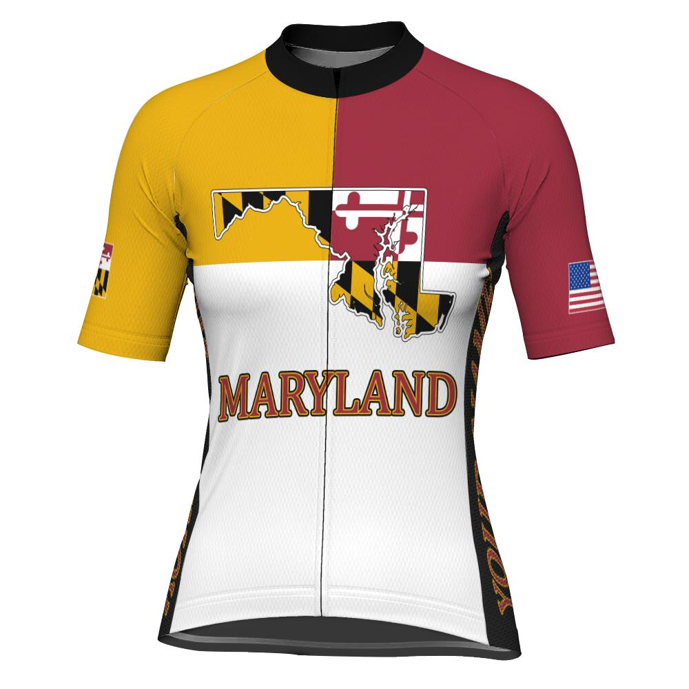 Customized Maryland Short Sleeve Cycling Jersey for Women