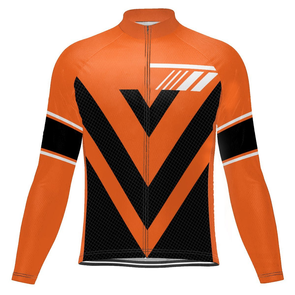 Orange Long Sleeve Cycling Jersey for Men