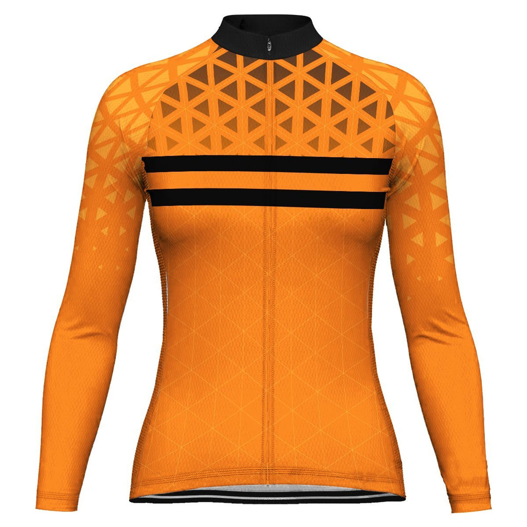 Orange Long Sleeve Cycling Jersey for Women