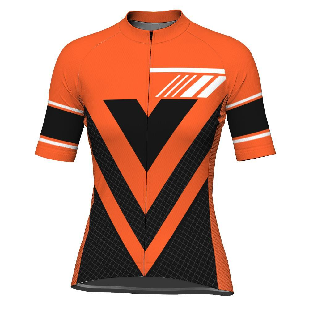 Orange Short Sleeve Cycling Jersey for Women