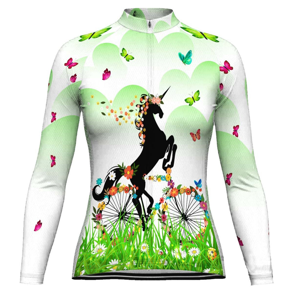 Colorful Unicorn Long Sleeve Cycling Jersey for Women