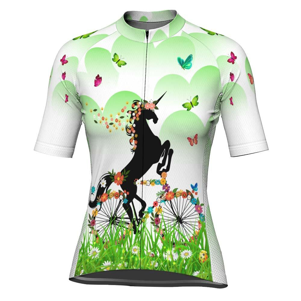 Colorful Unicorn Short Sleeve Cycling Jersey for Women
