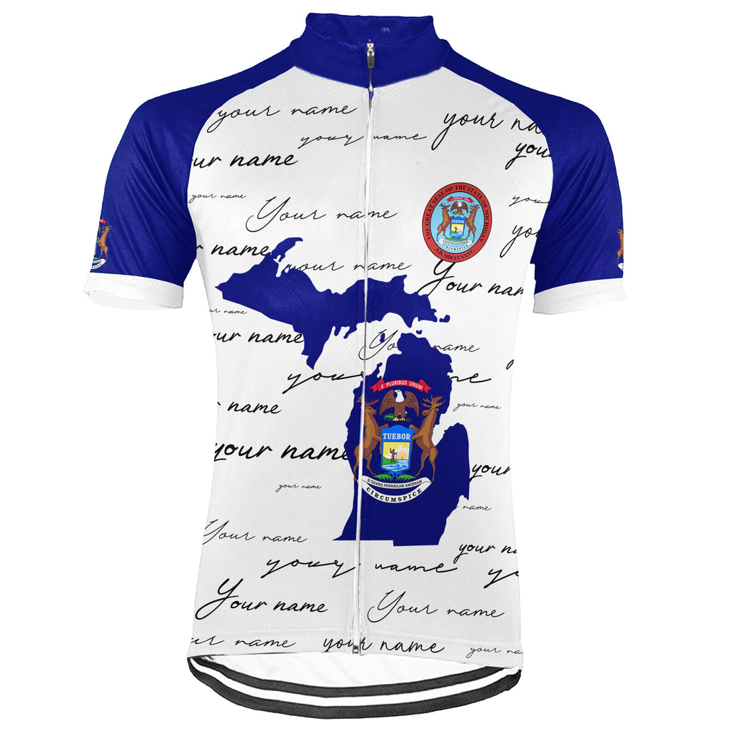 Customized Michigan Short Sleeve Cycling Jersey for Men