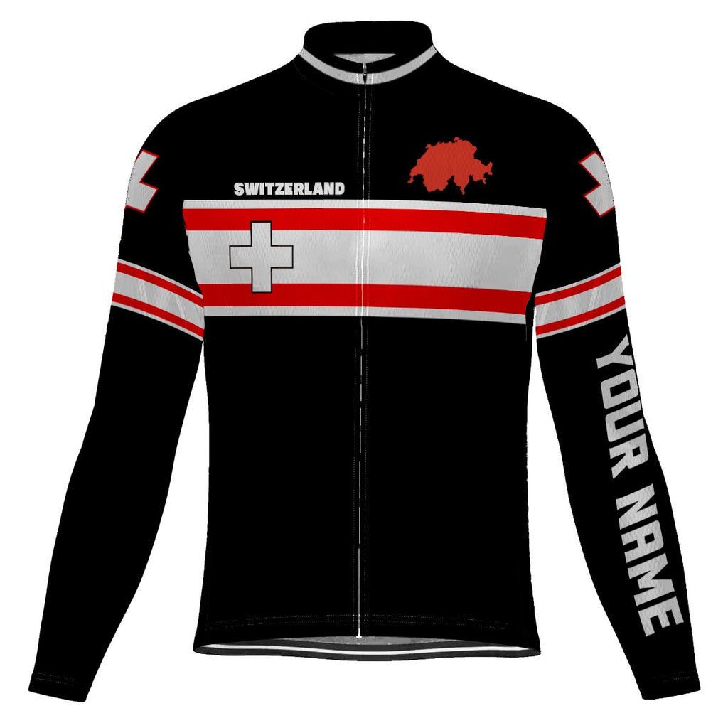 Customized Switzerland Long Sleeve Cycling Jersey for Men