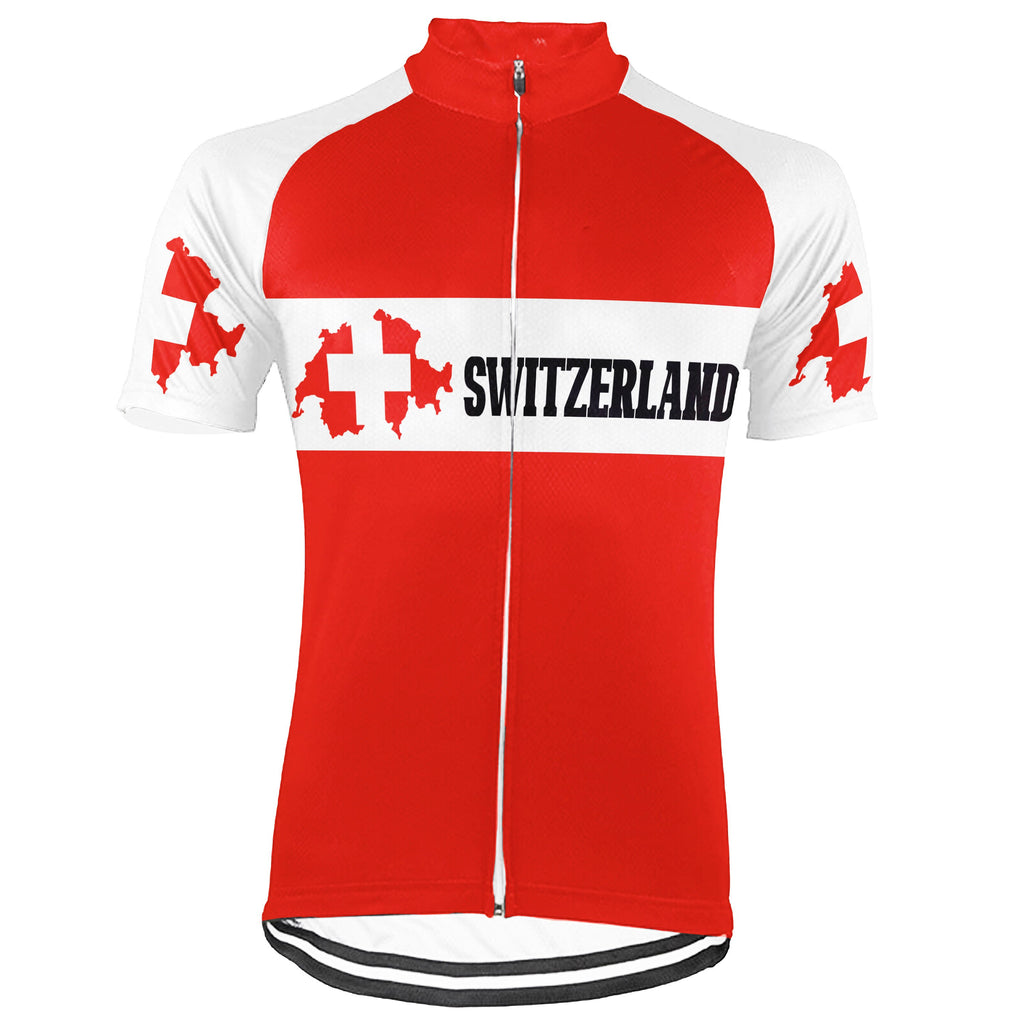 Customized Switzerland Short Sleeve Cycling Jersey for Men