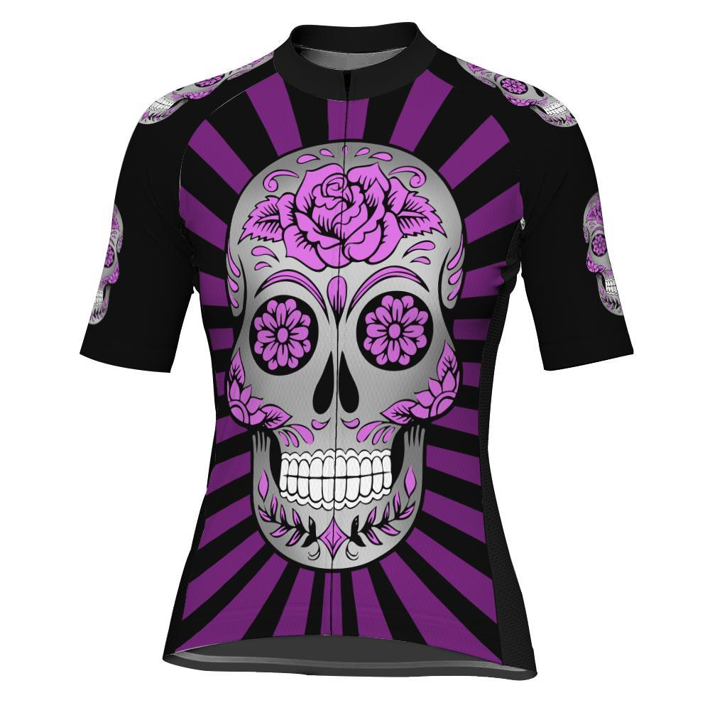 Skull Short Sleeve Cycling Jersey for Women