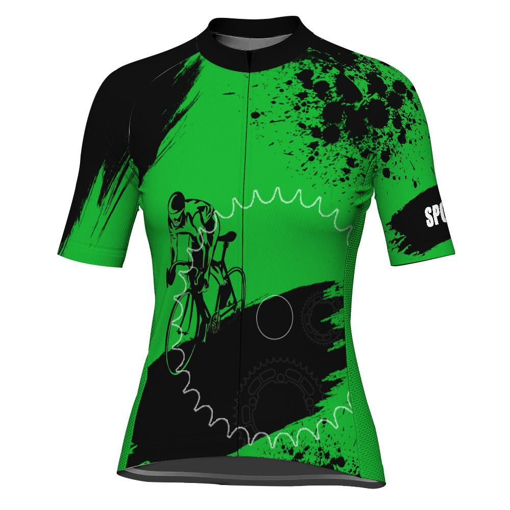 Green Short Sleeve Cycling Jersey for Women