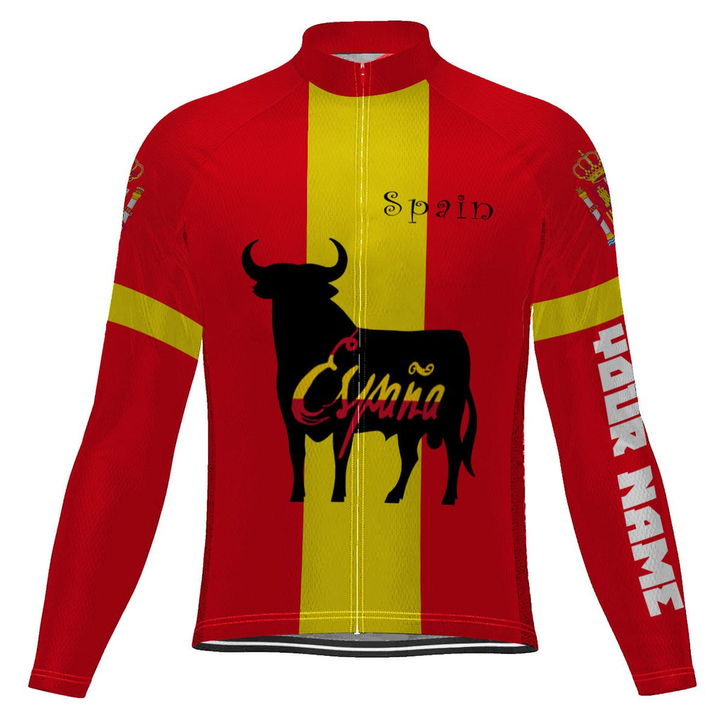 Customized Spain Long Sleeve Cycling Jersey for Men