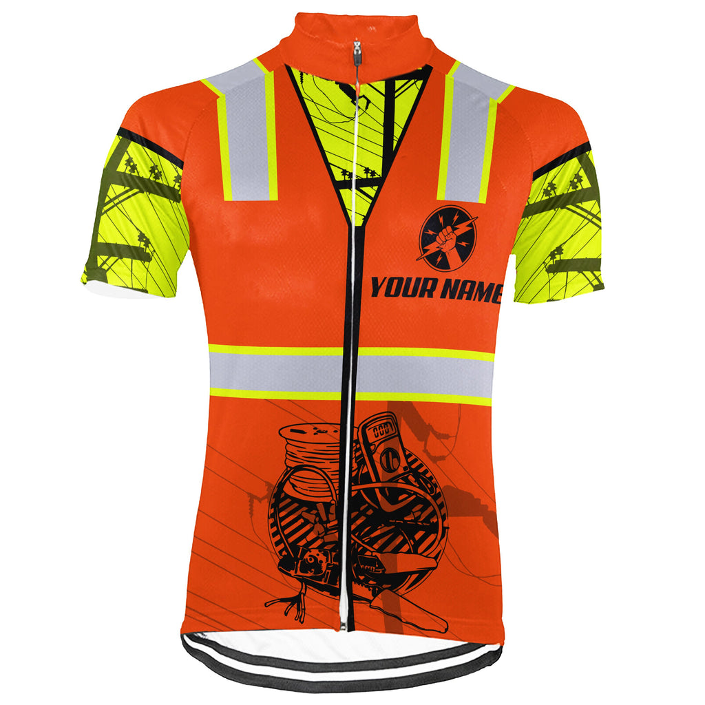 Customized Electrician Short Sleeve Cycling Jersey for Men