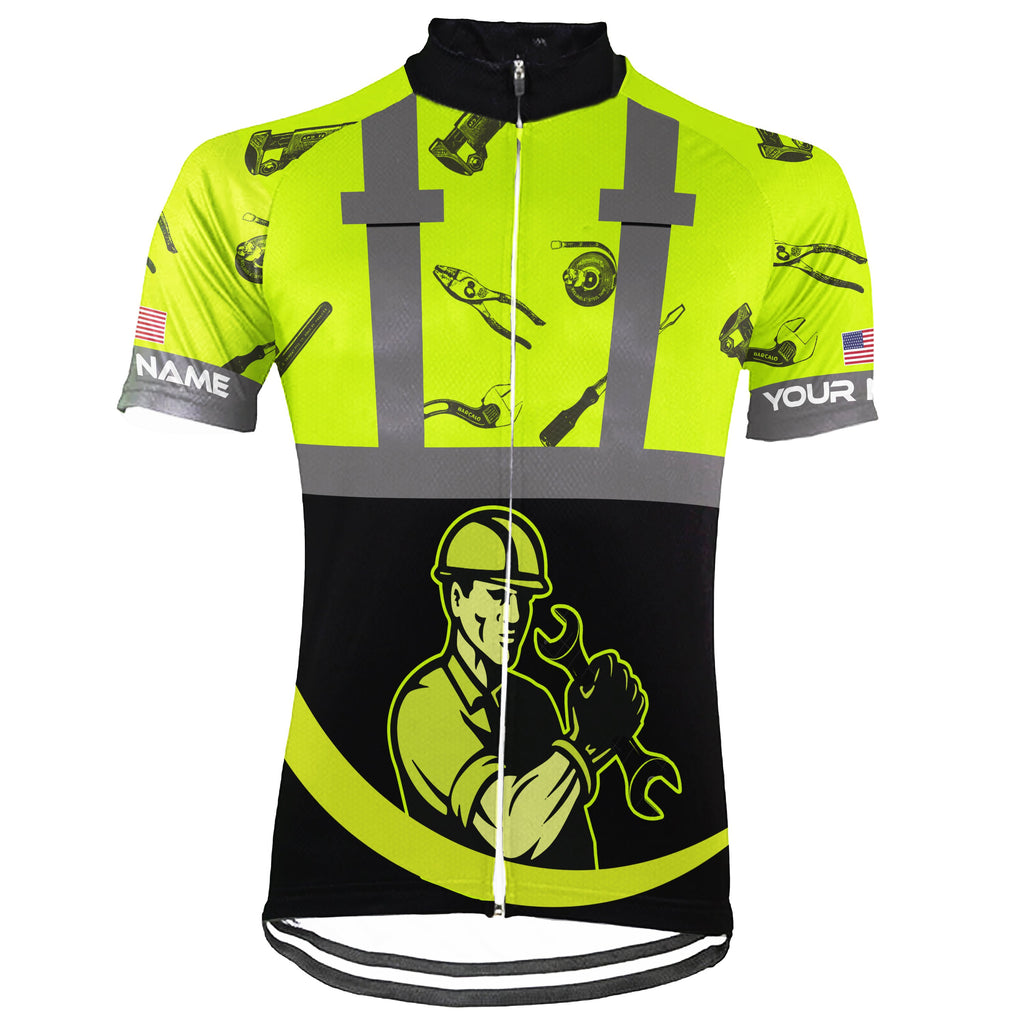 Customized Mechanic Short Sleeve Cycling Jersey for Men