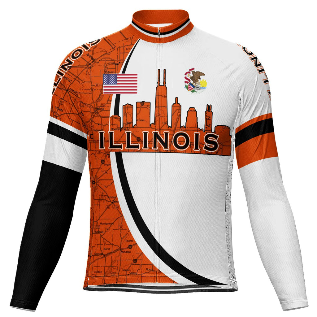 Customized Illinois Long Sleeve Cycling Jersey for Men